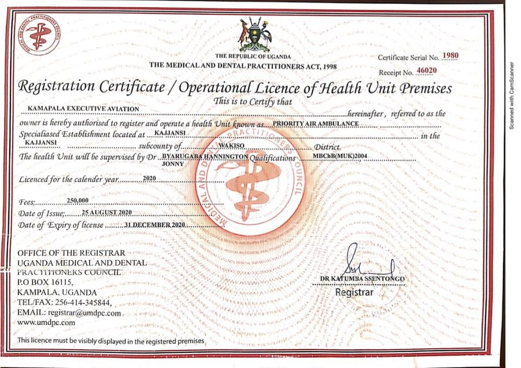 Registration Certificate - Priority Air Ambulance